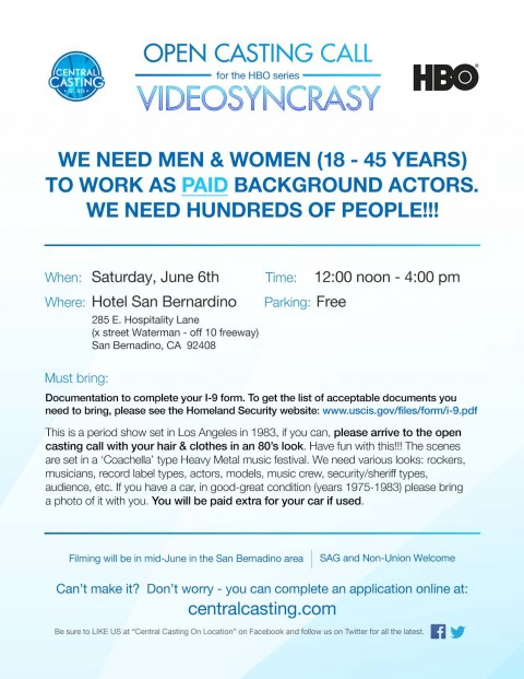 HBO Casting Call In San Bernardino